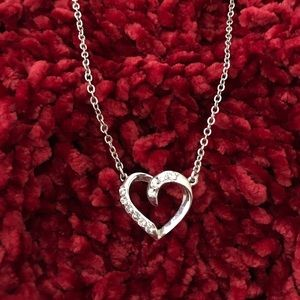 """COOKIE LEE Silver Crystal Heart 14"""" Necklace ❤️"""